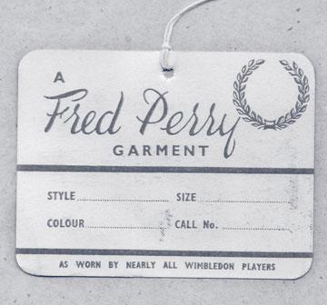 Etiqueta original das peças Fred Perry