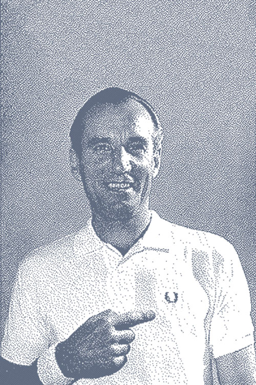 Fred Perry promoting one of his own brand shirts