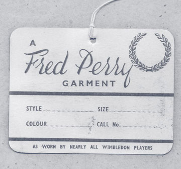 Fred Perry original clothing tag