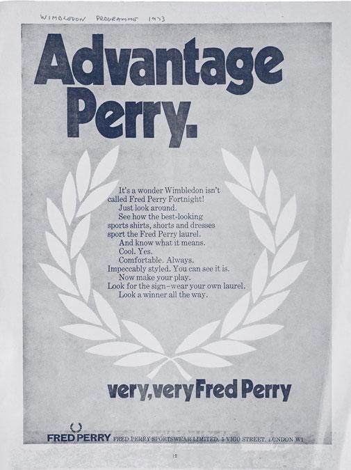 Publicidade dos primórdios da marca Fred Perry