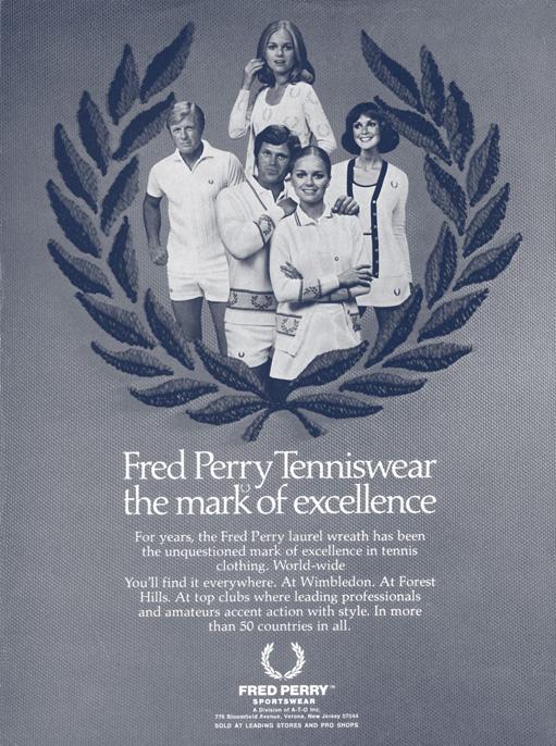 Marca de Excelência da roupa de ténis Fred Perry